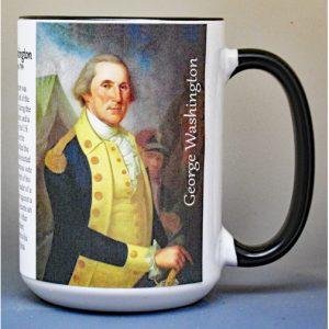 George Washington, Washington Crossing biographical history mug.
