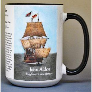 John Alden, Mayflower crew member biographical history mug.