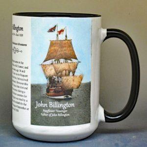 John Billington, Mayflower passenger biographical history mug.