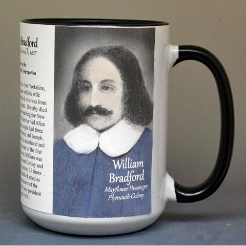 William Bradford, Mayflower passenger biographical history mug.