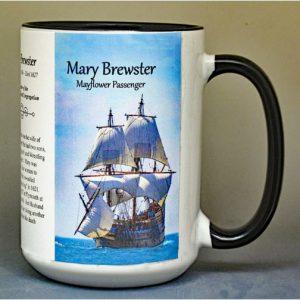 Mary Brewster, Mayflower passenger biographical history mug.