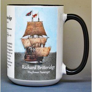 Richard Britteridge, Mayflower passenger biographical history mug.