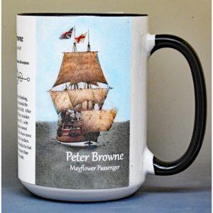 Peter Browne, Mayflower passenger biographical history mug.
