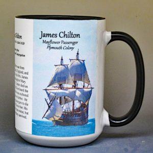James Chilton, Mayflower passenger biographical history mug.