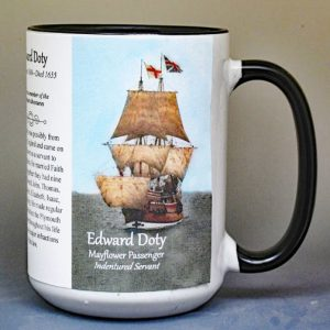 Edward Doty, Mayflower passenger biographical history mug.