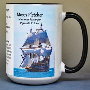 Moses Fletcher, Mayflower passenger biographical history mug.