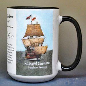 Richard Gardiner, Mayflower passenger biographical history mug.