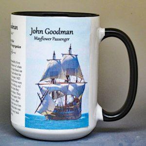 John Goodman, Mayflower passenger biographical history mug.
