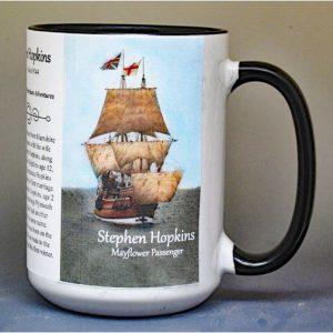 Stephen Hopkins, Mayflower passenger biographical history mug.