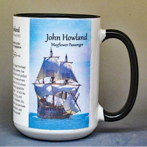 John Howland, Mayflower passenger biographical history mug.