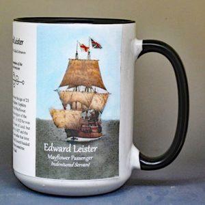 Edward Leister, Mayflower passenger biographical history mug.