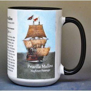 Priscilla Mullins, Mayflower passenger biographical history mug.