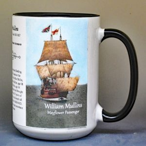 William Mullins, Mayflower passenger biographical history mug.