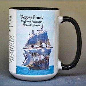 Degory Priest, Mayflower passenger biographical history mug.