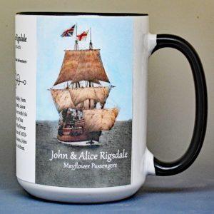 John & Alice Rigsdale, Mayflower passengers biographical history mug.