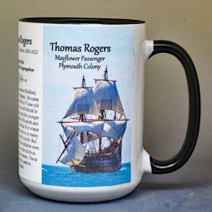 Thomas Rogers, Mayflower passenger biographical history mug.