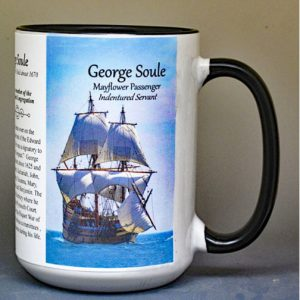 George Soule, Mayflower passenger biographical history mug.