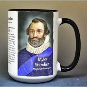 Myles Standish, Mayflower passenger biographical history mug.