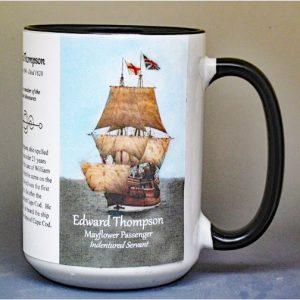 Edward Thompson, Mayflower merchant indentured servant biographical history mug.