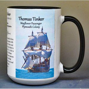Thomas Tinker, Mayflower passenger biographical history mug.