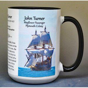 John Turner, Mayflower passenger biographical history mug.