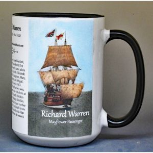 Richard Warren, Mayflower passenger biographical history mug.