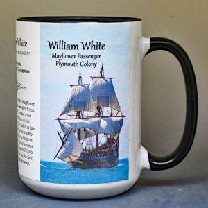 William White, Mayflower passenger biographical history mug.