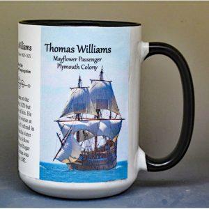 Thomas Williams, Mayflower passenger biographical history mug.