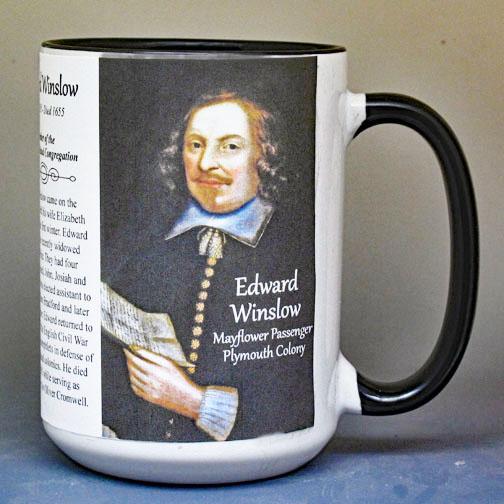 Edward Winslow, Mayflower passenger biographical history mug.