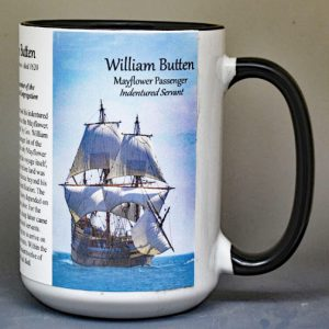 William Butten, Mayflower passenger biographical history mug.