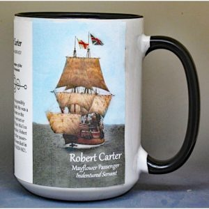 Robert Carter, Mayflower passenger biographical history mug.