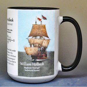 William Holbeck, Mayflower passenger biographical history mug.