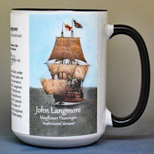John Langmore, Mayflower passenger biographical history mug.