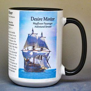 Desire Minter, Mayflower passenger biographical history mug.